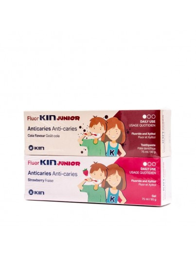 FLUOR KIN JUNIOR ANTICARIES GEL FRESA 75 ML + FLUOR KIN JUNIOR PASTA 75 ML