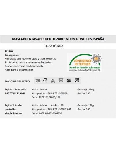 MASCARILLA HIGIENICA REUTIZABLE 10 LAVADOS 4 UNIDADES