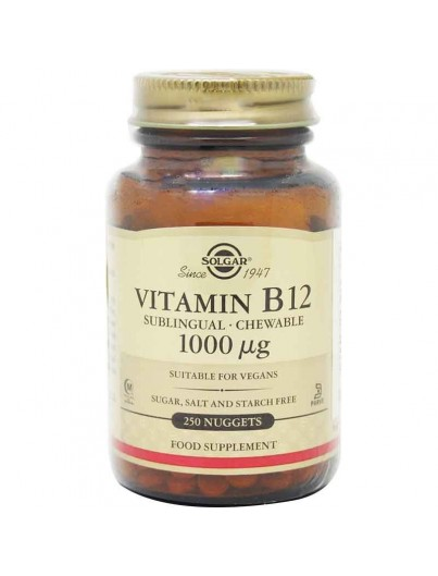 SOLGAR VITAMINA B12 1000 μg 250 COMPRIMIDOS MASTICABLES