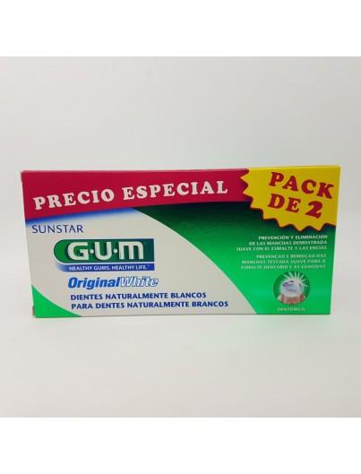 GUM ORIGINAL WHITE PASTA DENTAL 75 ML X 2 TUBOS