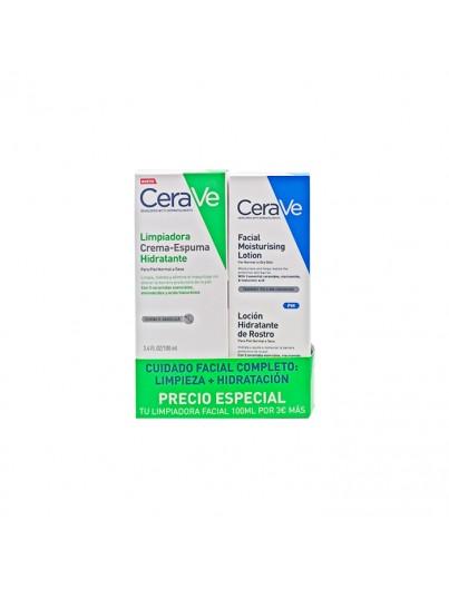 CERAVE PACK LOCION HIDRATANTE DE ROSTRO+ LIMPIADORA CREMA-ESPUMA DE 100 ML DE REGALO.