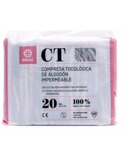 INDAS CT COMPRESAS TOCOLOGÓGICA DE ALGODÓN IMPERMEABLE 20 UNIDADES