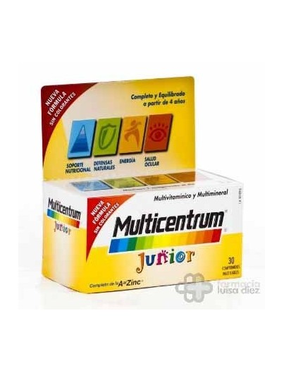 MULTICENTRUM JUNIOR FRAMBUESA/LIMON 30 COMPRIMIDOS