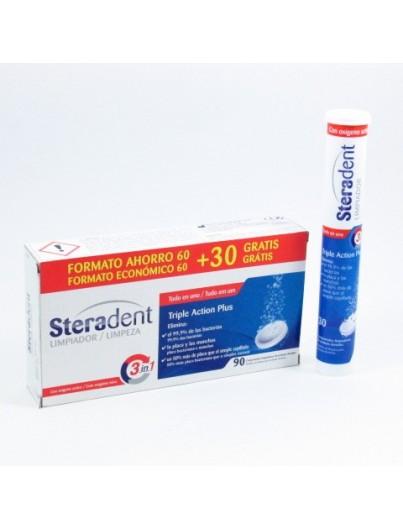STERADENT LIMPIADOR TRIPLE ACCION PLUS 60 + 30 COMPRIMIDOS