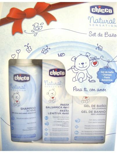 CHICCO NATURAL SENSATIONS SET BAÑO(GEL BAÑO+CHAMPU+PASTA)