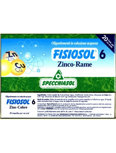 FISIOSOL 6 ZINC - COBRE 20 AMPOLLAS