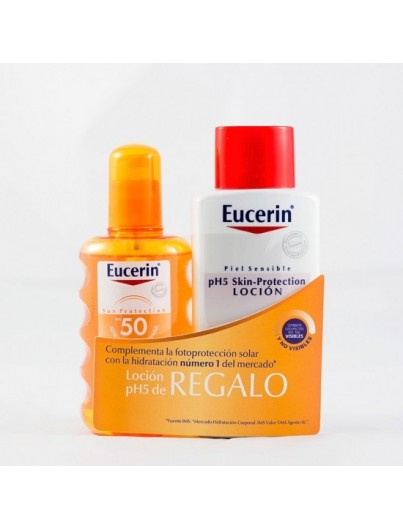 EUCERIN SUN PROTECTION SPF 50 SPRAY TRANSPARENTE 200 ML+ REGALO PH5 LOCION HIDRATANTE 200 ML