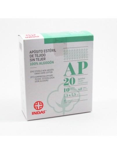 INDAS APOSITO ESTERIL TEJIDO SIN TEJER 100% ALGODON 7,5 X 7,5 CM 20 U