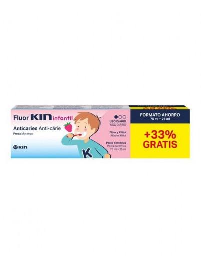 FLUOR KIN INFANTIL PASTA DENTIFRICA FRESA 75 ML + 25 ML REGALO