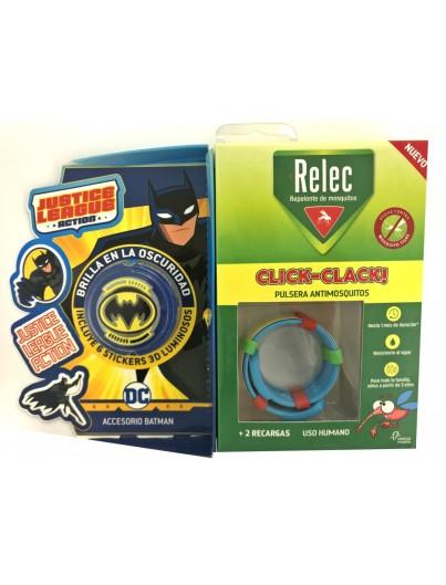 RELEC PULSERA CLICK CLACK BATMAN REPELENTE DE MOSQUITOS INFANTIL