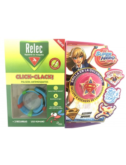 RELEC PULSERA CLICK CLACK SUPER GIRL REPELENTE DE MOSQUITOS INFANTIL