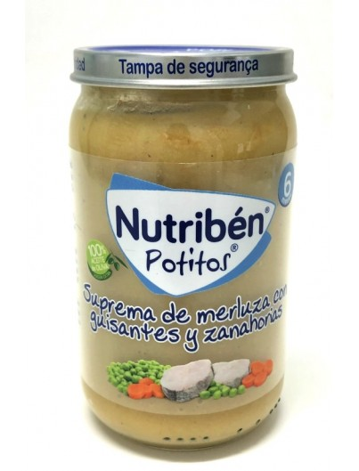 NUTRIBEN SUPREMA DE MERLUZA CON GUISANTES Y ZANAHORIA 250 GRAMOS