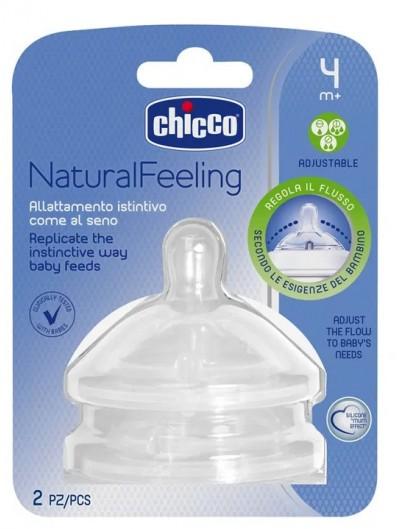 CHICCO NATURALFEELING TETINA SILICONA ANTICOLICO FLUJO REGULABLE 4 M+ 2 UNIDADES