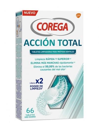 COREGA ACCION TOTAL LIMPIADOR LIMPIEZA PROTESIS DENTAL 66 TABLETAS